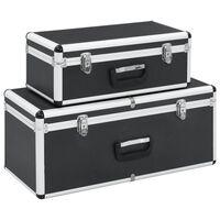vidaXL Cajas de almacenamiento 2 unidades aluminio negro