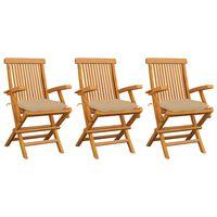 vidaXL Sillas de jardín 3 uds madera maciza de teca con cojines beige