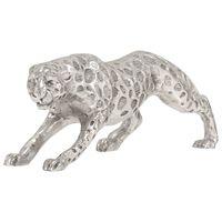 vidaXL Figura de jaguar de aluminio macizo 50x10x14 cm plateada