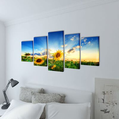 Set decorativo de lienzos para la pared modelo girasoles, 100 x 50 cm