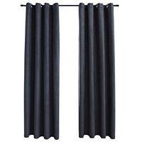 vidaXL Cortinas opacas y aros de metal 2 pzs gris antracita 140x225 cm