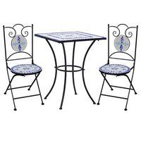 vidaXL Mesa y sillas de bistró 3 piezas mosaico cerámica azul y blanco