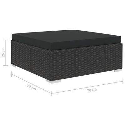 vidaXL Set de muebles de jardín y cojines 7 pzas ratán sintético negro