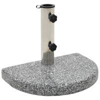vidaXL Base de sombrilla de granito semicircular gris 10 kg