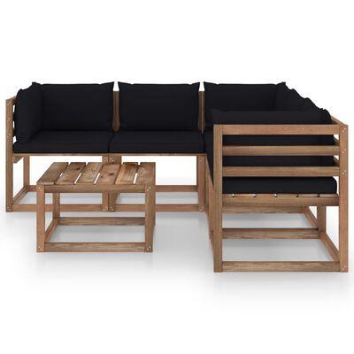 vidaXL Muebles de jardín 6 pzas cojín negro madera de pino impregnada