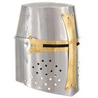 vidaXL Réplica casco de caballero cruzado medieval LARP acero plateado