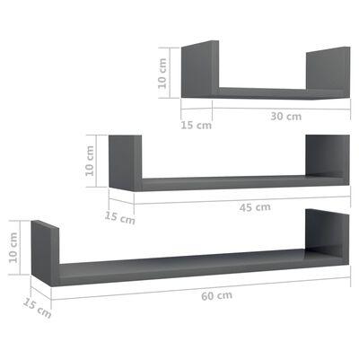 vidaXL Estante de pared 3 unidades aglomerado gris brillante