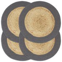 vidaXL Mantel individual 4 uds yute y algodón natural antracita 38 cm