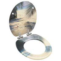 vidaXL Tapa de váter WC de cierre suave MDF diseño de playa