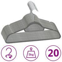 vidaXL Juego de perchas de ropa 20 uds antideslizantes terciopelo gris