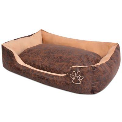 vidaXL Cama para perro con cojín PU cuero artificial talla XXL marrón