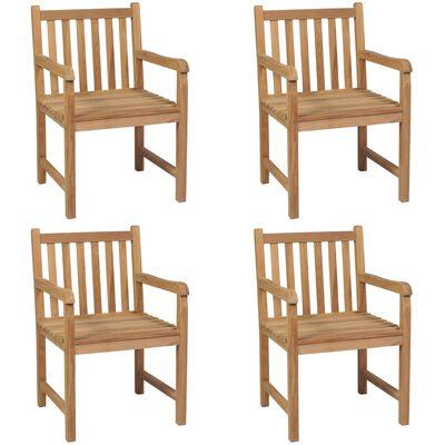 vidaXL Sillas de jardín 4 unidades madera maciza de teca