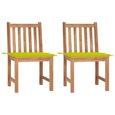 vidaXL Sillas de jardín 2 unidades madera maciza de teca con cojines
