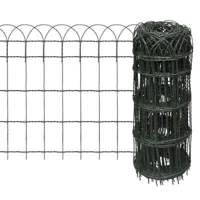vidaXL Cerca para césped de hierro recubierto en polvo 10x0,65 m