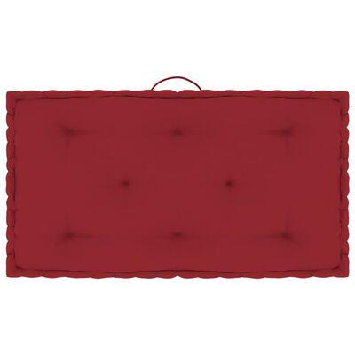 vidaXL Cojines para palets de suelo 4 unidades algodón rojo burdeos
