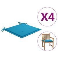 vidaXL Cojines para silla de jardín 4 unidades tela azul 50x50x4 cm