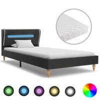 vidaXL Cama con LED y colchón arpillera gris oscuro 90x200 cm