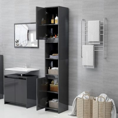 vidaXL Armario cuarto de baño aglomerado gris brillante 30x30x183,5 cm