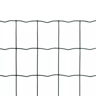 vidaXL Set de euro valla acero verde 25x1,5 m