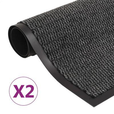 vidaXL Alfombras de entrada rectangulares de nudo 2 uds gris 60x90 cm