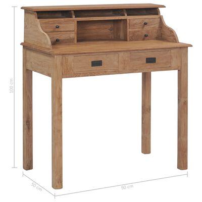 vidaXL Escritorio de madera de teca maciza 90x50x100 cm