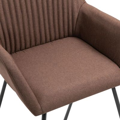vidaXL Sillas de comedor 4 unidades de tela marrón