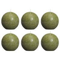 Bolsius Velas rústicas de bola 6 unidades verde oliva 80 mm