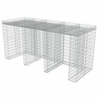 vidaXL Muro de gaviones para contenedor de basura acero 270x100x130 cm