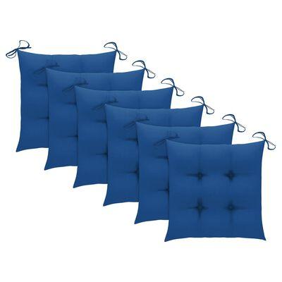 vidaXL Sillas de comedor 6 uds madera maciza teca con cojines azules