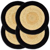 vidaXL Mantel individual 4 uds yute y algodón natural y negro 38 cm