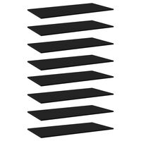 vidaXL Estantes para estantería 8 uds aglomerado negro 80x20x1,5 cm