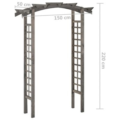 vidaXL Arco enrejado de madera de pino impregnada gris 150x50x220 cm