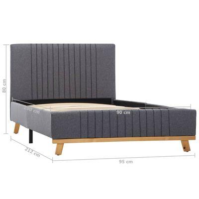 vidaXL Estructura de cama de tela gris claro 90x200 cm