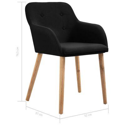vidaXL Sillas de comedor 2 uds tela negra y madera maciza de roble