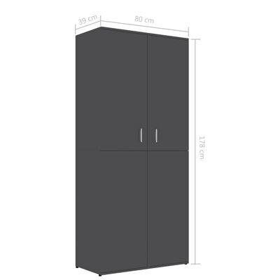 vidaXL Mueble zapatero de aglomerado gris 80x39x178 cm