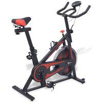 vidaXL Bicicleta de spinning con sensores de pulso negra y roja