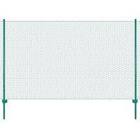 vidaXL Valla de malla de alambre con postes de acero 25x2 m verde