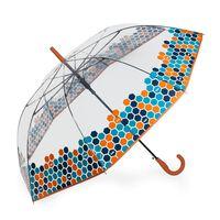 Paraguas Clásico Estampado Transparente. Apertura Automática Coral