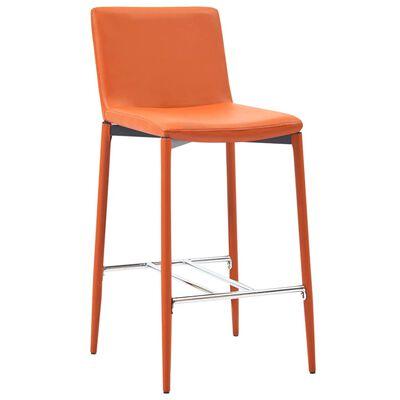 vidaXL Set mesa alta y taburetes de bar 5 pzas cuero sintético naranja