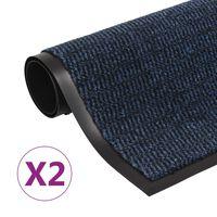 vidaXL Alfombras de entrada rectangulares de nudo 2 uds azul 90x150 cm