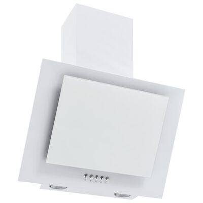 vidaXL Campana extractora acero inoxidable vidrio templado blanco 60cm