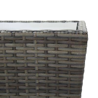 vidaXL Muebles de jardín 3 pzas ratán sintético vidrio templado gris