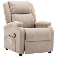 vidaXL Sillón de masaje reclinable de tela color crema