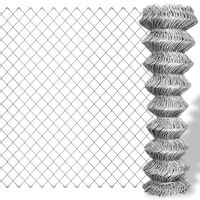 vidaXL Valla de tela metálica acero galvanizado plateado 25x0,8 m
