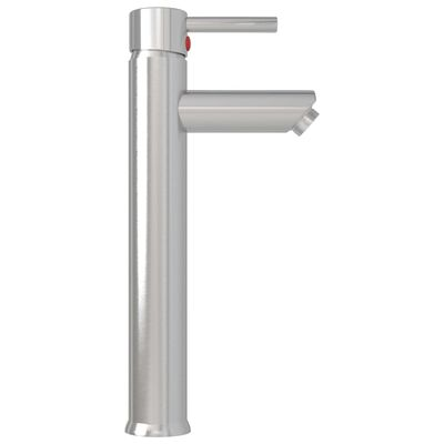 vidaXL Grifo mezclador de cuarto de baño plateado 12x30 cm