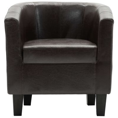 vidaXL Sillón con diseño de cubo cuero sintético marrón oscuro