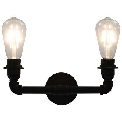 vidaXL Lámpara de pared doble negro 2 bombillas E27