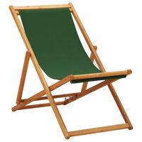 vidaXL Silla de playa plegable madera de eucalipto y tela verde