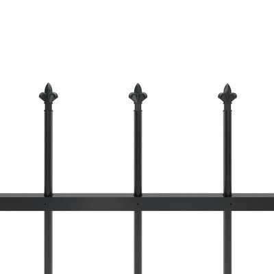 vidaXL Valla de jardín con puntas de lanza acero negro 13,6x1,5 m