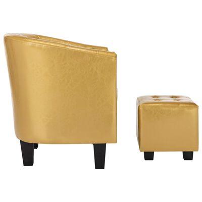 vidaXL Sillón diseño de cubo y reposapiés piel sintética dorado brillo